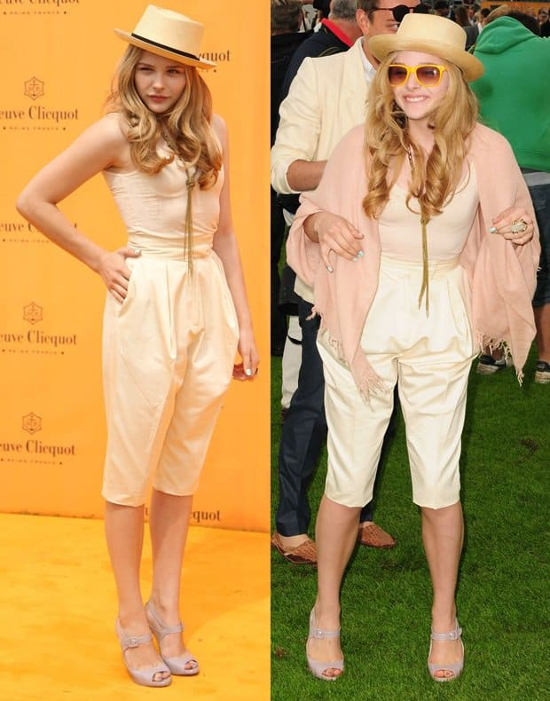 Chloë Grace Moretz kept it stylish but simple by going for a cream colored ensemble, highlighted by a hat and some interesting jewelry