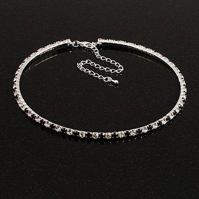 Avalaya Black and Clear Swarovski Necklace