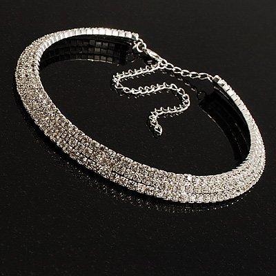 Avalaya 3 Row Swarovski Crystal Necklace