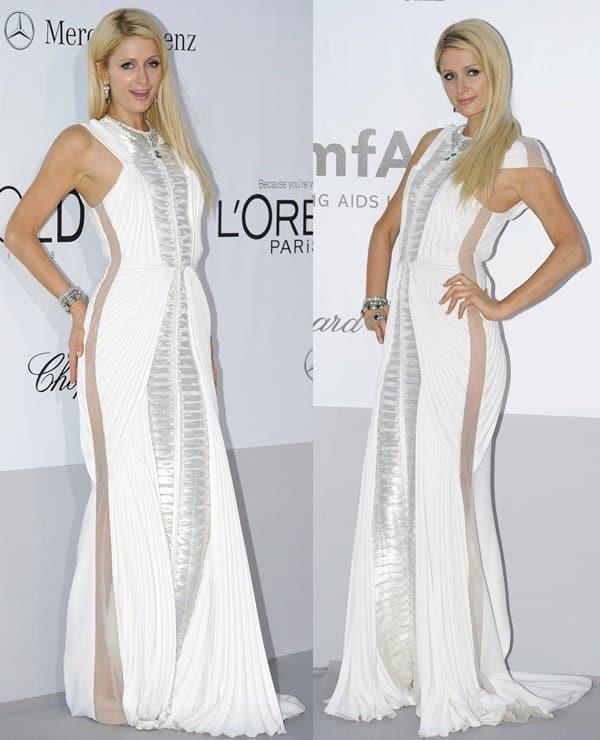 Paris Hilton arrives at the 2012 amfAR's Cinema Against AIDS during the 65th Annual Cannes Film Festival