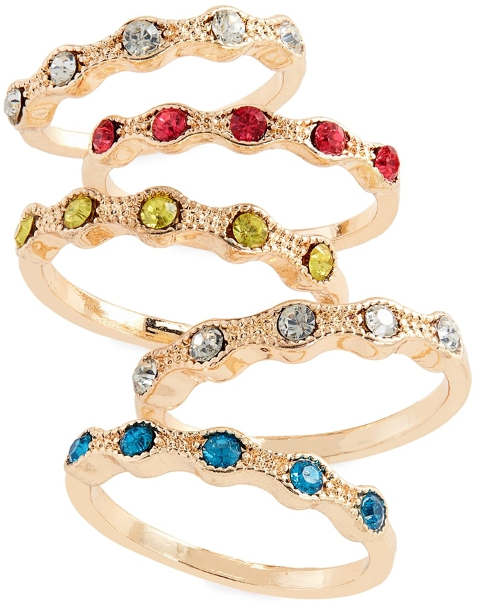 This set of five crystal-embellished rings offer colorful variety—stack them for a statement-making look or wear them individually for a understated style