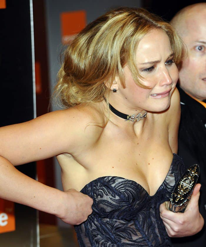 Jennifer Lawrence in an embroidered Stella McCartney gown at the Orange British Academy Film Awards (BAFTA) held at the Royal Opera House in London, England, on February 13, 2011