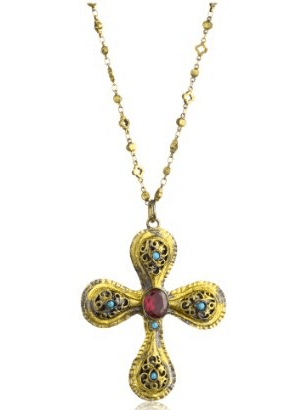 GYPSY Explore Oxidized Gold Filigree Cross with Turquoise Pendant Necklace