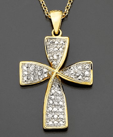VICTORIA TOWNSEND 18K Gold Over Sterling Diamond Accent Cross Pendant Necklace