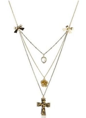 BETSEY JOHNSON Lovely Leopard Cross Necklace