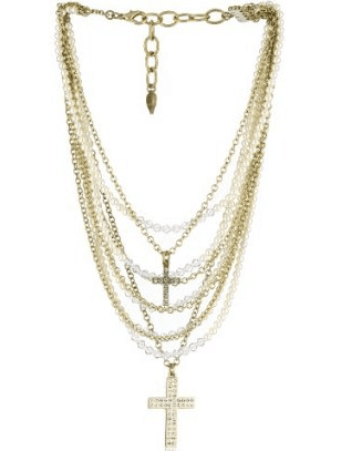Sisi Amber Crystal Pearls and Chain, Multi Strand with Cross Necklace