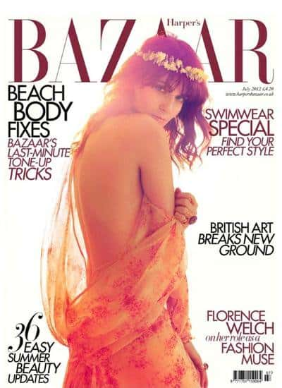 Florence Welch, the lead singer of the Indie rock band 'Florence and the Machine', graced the cover of Harper's Bazaar's July 2012 issue dressed in a floral sheer feminine dress with fresh flowers for a crown