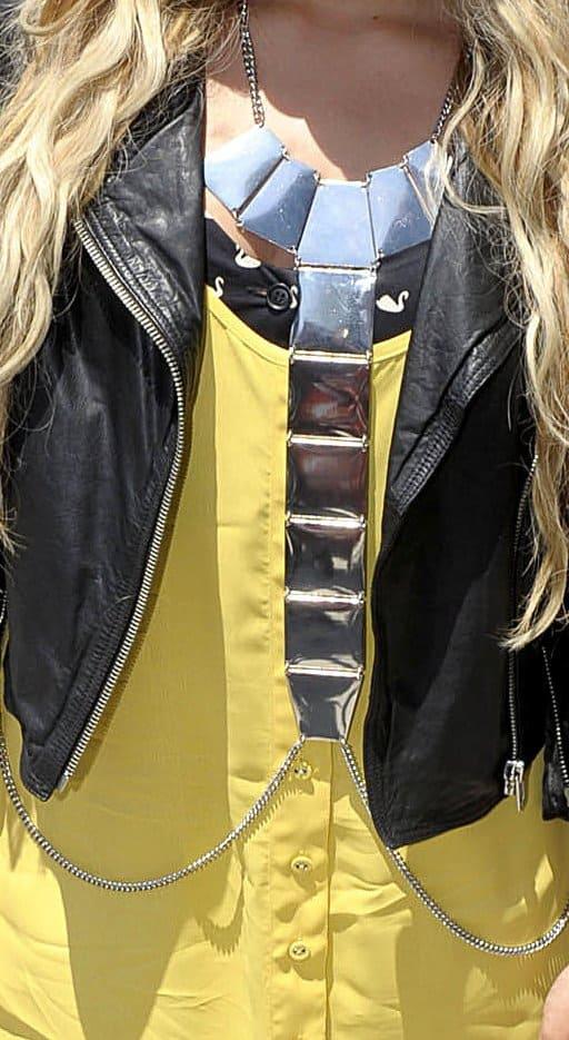 A closeup of Demi Lovato's body chain