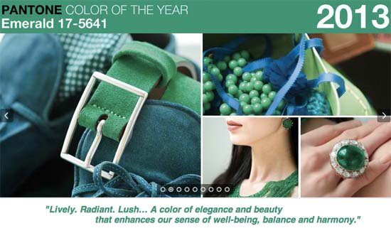 The official color for 2013 is none other than - Emerald Green