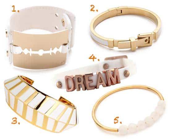 Gold & White Bracelets