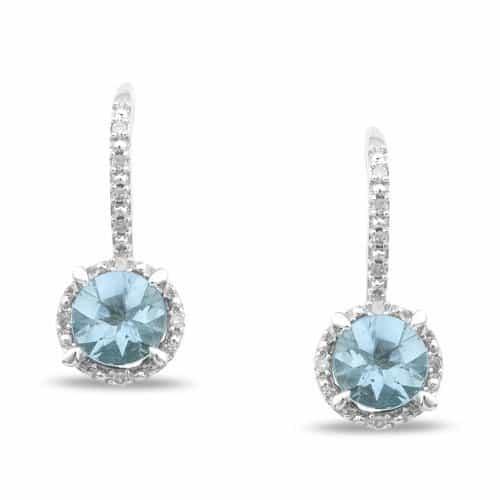 Amour Aquamarine and Diamond Lever Back Earrings
