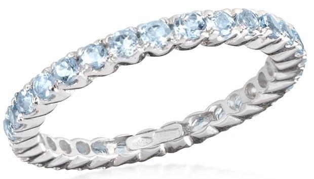 Forzieri 0.90 Aquamarine 18K White Gold Eternity Band Ring