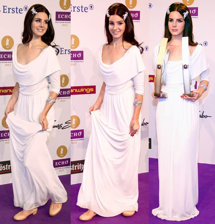 Lana Del Rey in Grecian-inspired drape dress
