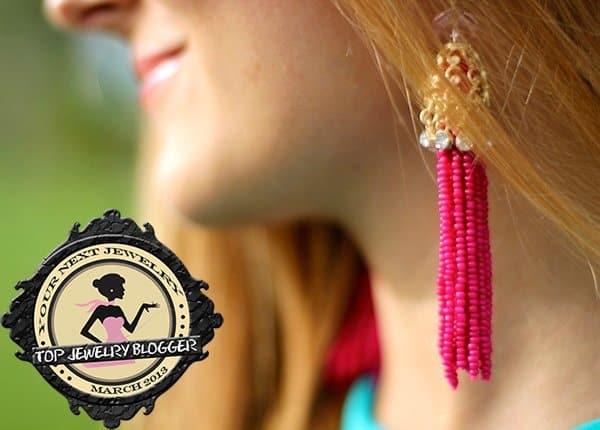 Marianela Yanes rocks pink beaded dangling earrings