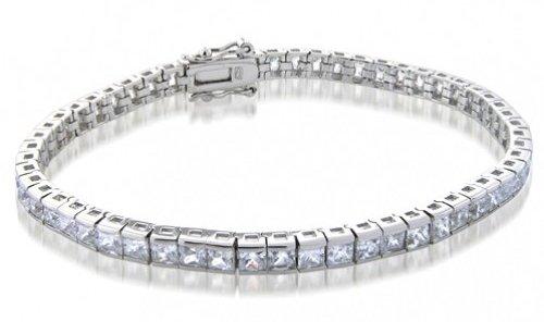 Princess Cut CZ Sterling Silver Tennis Bracelet Channel Set