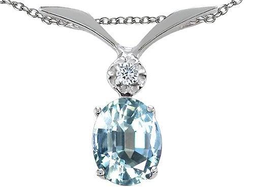 Tommaso Design Genuine Aquamarine and Diamond Pendant in 14 kt White Gold