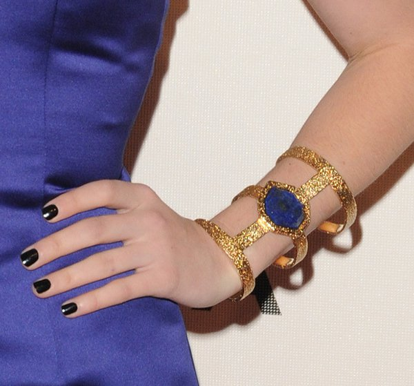 The pop of blue lapis against the 18k-gold-plated brass made Emma's cuff simply majestic and head-turning