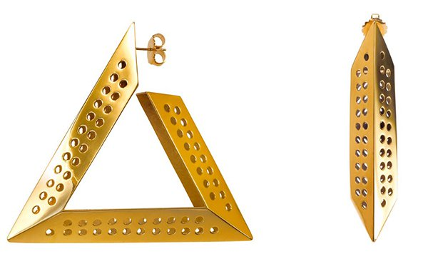 Scott Wilson for Aqua Logo Hoop Gold Earrings
