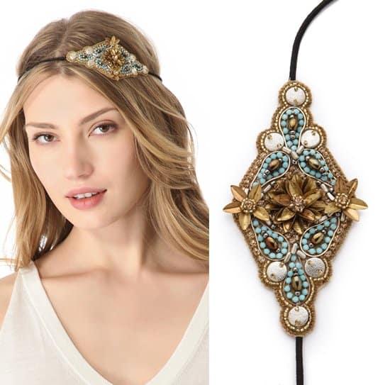 Deepa Gurnani Gold & Turquoise Applique Headband_gold_turquoise