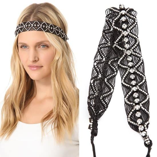 Deepa Gurnani Patterned Rhinestone Headband_black