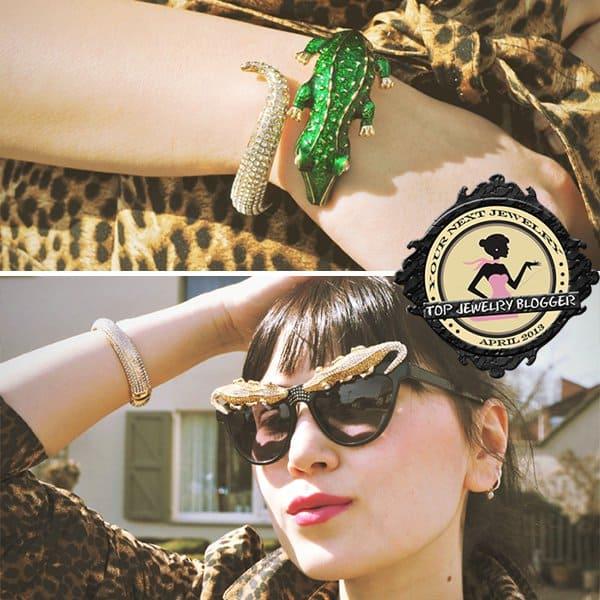 Insomnia rocks a crocodile bracelet and crocodile-embellished sunglasses