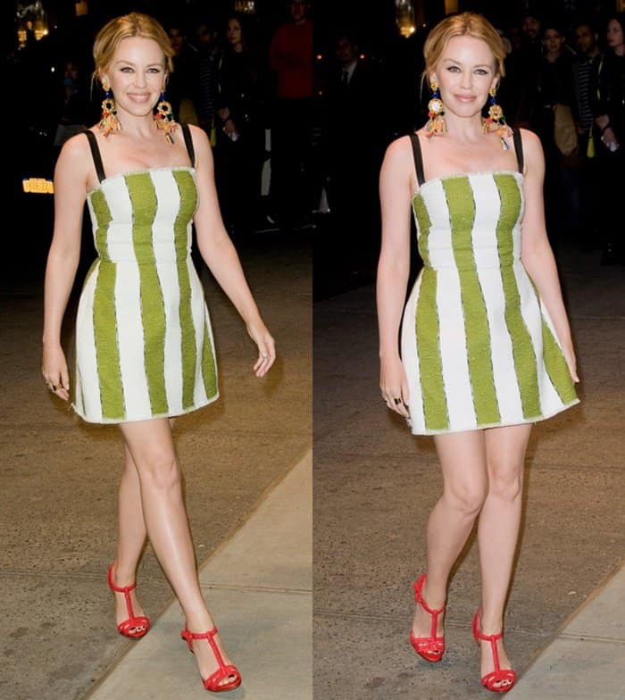 Kylie Minogue wore a fun and multicolored ensemble at the Dolce & Gabbana Fifth Avenue Flagship Store Opening in New York.