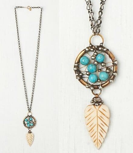 Free People Mikal Winn Turquoise Dream Catcher Pendant