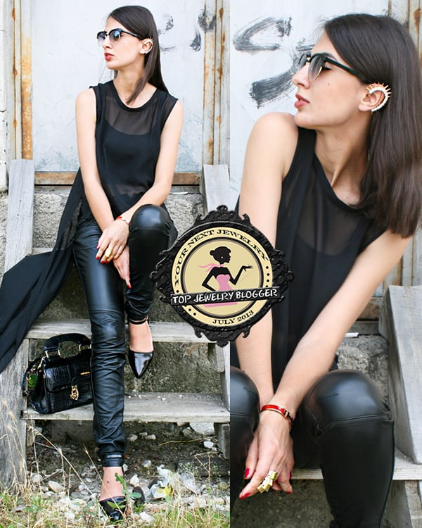 Midheta styled leather pants with an asymmetric blouse
