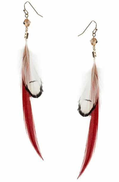 Orelia Sleek Feather Drop Earrings