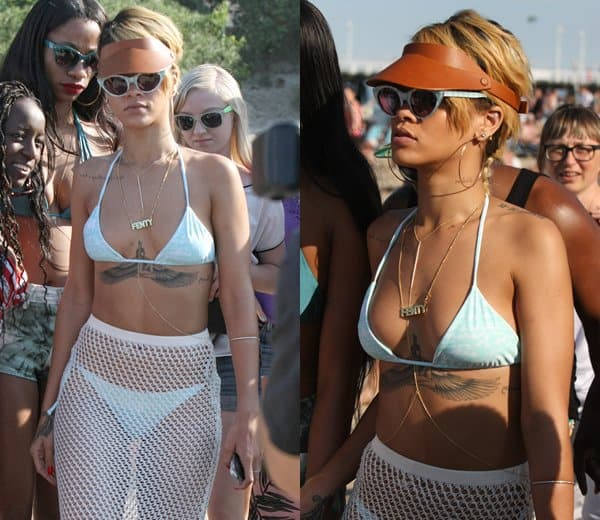 Rihanna Body-Chain Necklace at the Beach