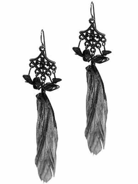 Style Tryst Metallic Feather Earrings