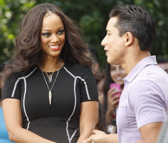 Tyra Banks Armed With Bullet Pendant Necklace At The Grove
