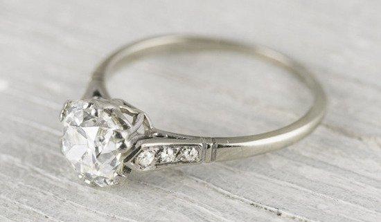 150 carat cushion vintage diamond engagement ring 11000 - Vintage Wedding Rings 1920