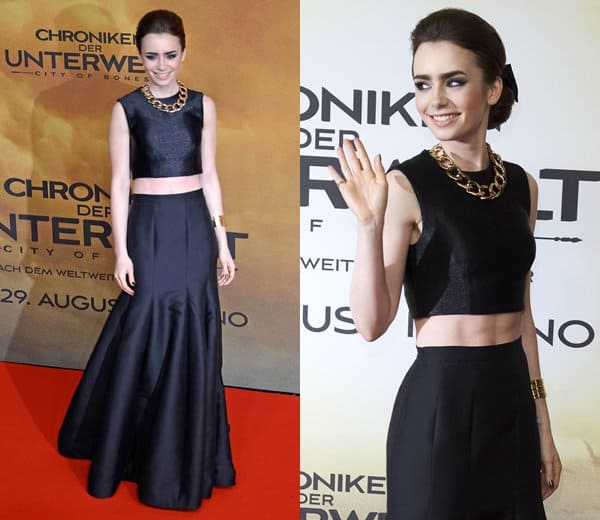 Lily Collins at the European premiere of 'The Mortal Instruments: City of Bones' held at the CineStar Movie Theatre in Berlin, Germany, on August 20, 2013
