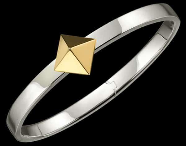 SILVER TRUNFIO UNIVERSE™ BRACELET - GOLD PYRAMID CHARM