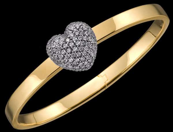 GOLD TRUNFIO UNIVERSE™ BRACELET - PAVE HEART CHARM