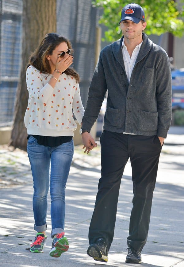 Ashton Kutcher and Mila Kunis in Soho