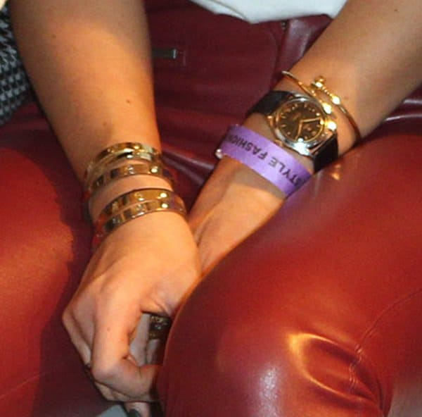 "Kylie Jenner accessorized her fierce ensemble with stacks of Cartier ""Love"" bracelets"