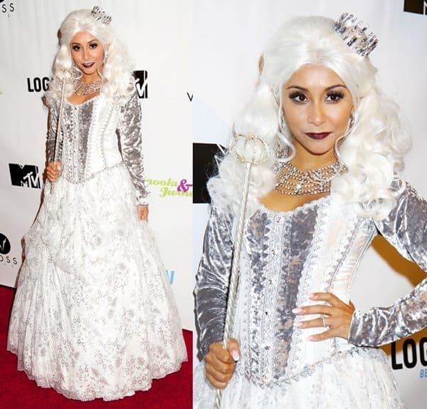 Snooki as the White Queen of 'Alice in Wonderland' at the Night of the Living Drag in New York on October 26, 2013