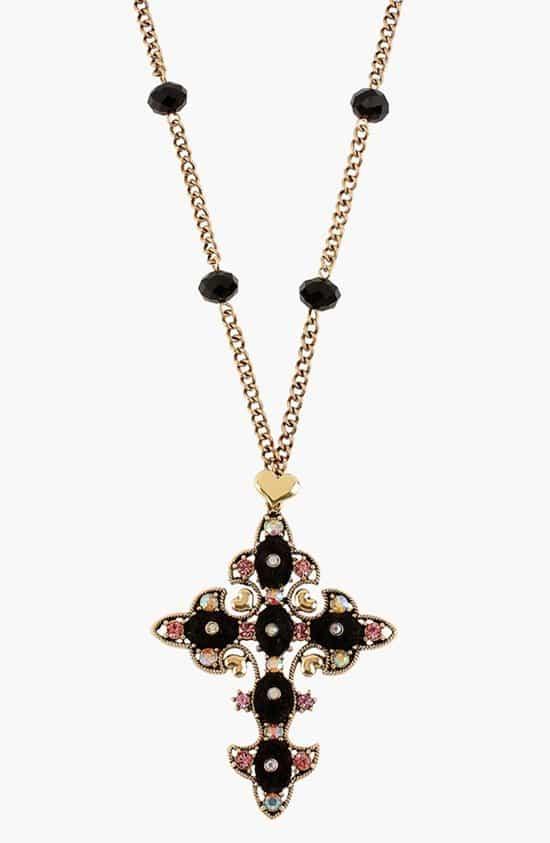 Betsey Johnson 'Angel & Devil' Cross Necklace