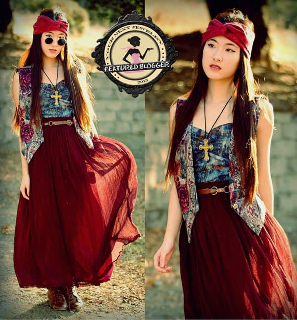 Fashion design student Jennifer rocked a gypsy-inspired bohemian ensemble
