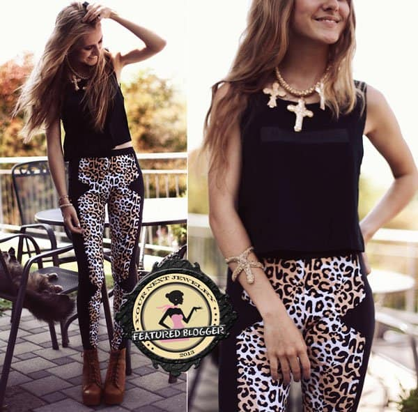 Fashion blogger and photographer Jessica Christ paired her multi-cross necklace jewelry with a fabulous pair of leopard pants