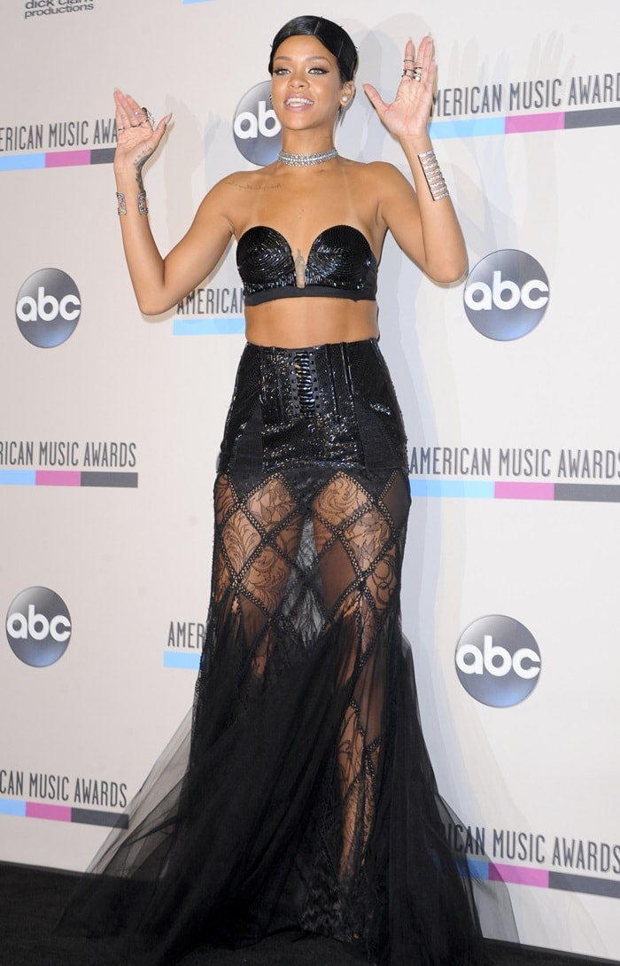 Rihanna rocked a revealing piece from the Spring 2013 Couture by Jean Paul Gaultier