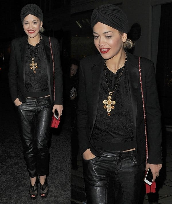 Rita Ora steps out with sister Elena in Mayfair, for a late birthday dinner with her brother Don and mother Vera