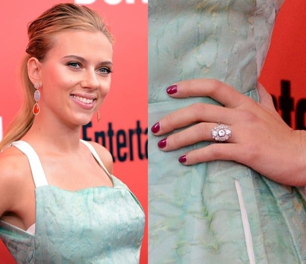 Scarlett wasn't shy about showing off her gorgeous art deco engagement ring