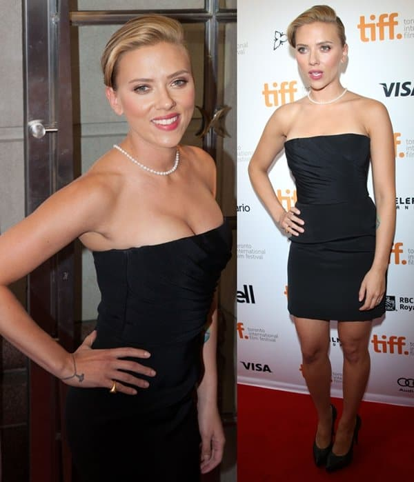Scarlett Johansson at the Don Jon premiere during the Toronto International Film Festival held at the Princess of Wales Theatre in Toronto, Canada, on September 10, 2013
