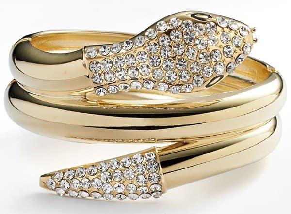 Jennifer Lopez Gold Tone Simulated Crystal Snake Bangle Bracelet