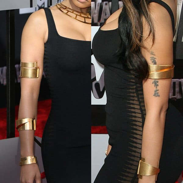 Nicki Minaj wearing Alexander McQueen at the 2014 MTV Movie Awards held at Nokia Theatre L.A. Live in Los Angeles on April 13, 2014