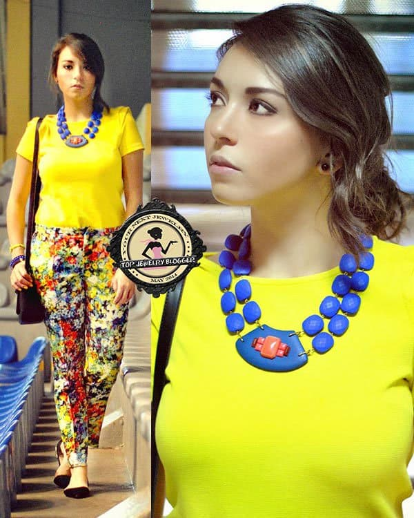Amparo styled her bold blue necklace with a plain yet bright top