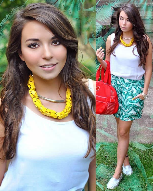 Amparo flaunted her legs in green printed shorts